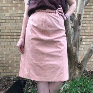 Vintage Jeremy Pink Ultra-Suede Pencil Skirt